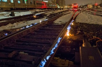 Railroad keeps track switches from freezing