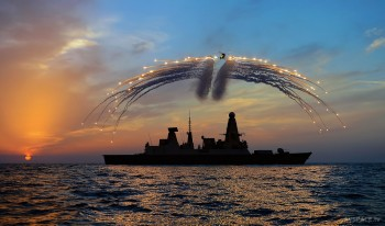 Lynx Helicopter Fires Flares