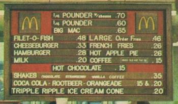 McDonald's menu from 1972
