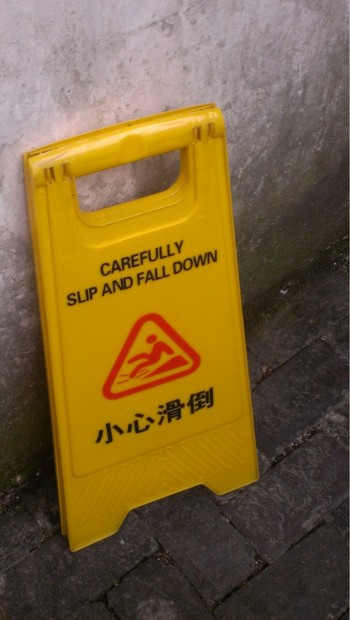 Carefully slid and fall down