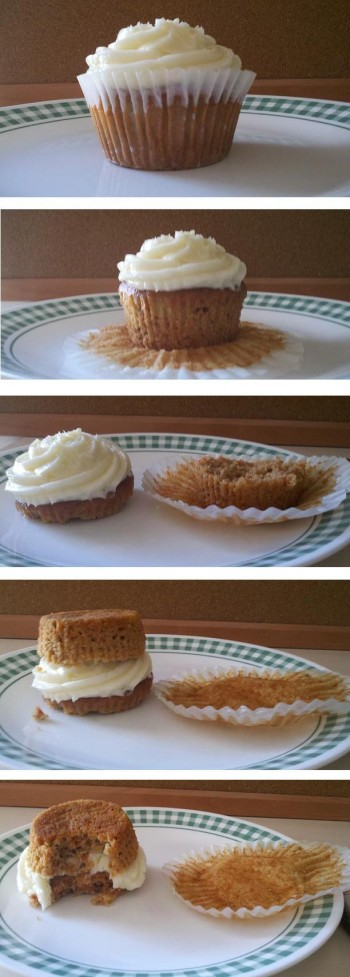 The correct way to eat a cupcake