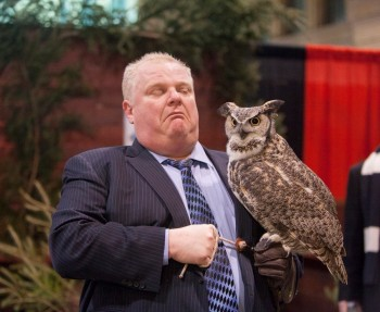Rob Ford holding an owl