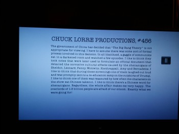 During the credits of 'The Big Bang Theory'