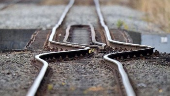 Railroad tracks distorted by an earthquake