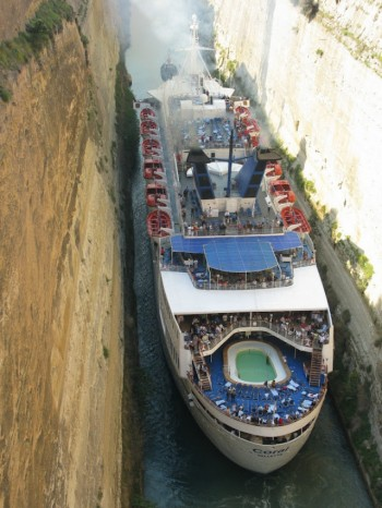 Cruise Ship squeezes through the Corinth Canal in Greece