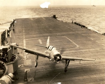 Crash landing on a carrier in the Pacific