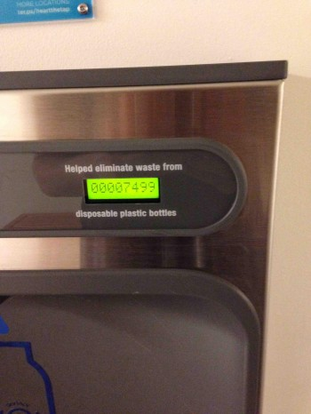 Water fountain shows how many plastic bottles it has saved