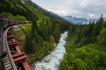 Train in Skagway, Alaska going into the Yukon