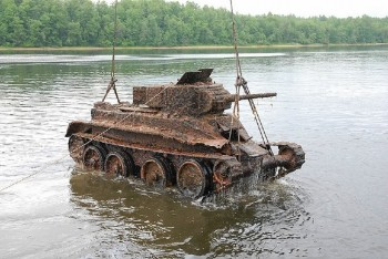 Soviet WWII Era Tank Being Pulled From a Lake