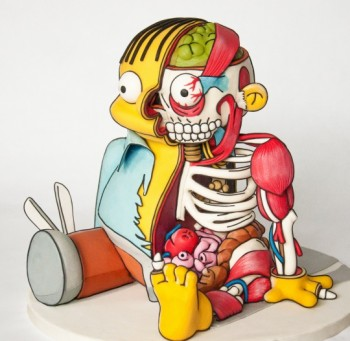 Cut-out Ralph Wiggum Cake